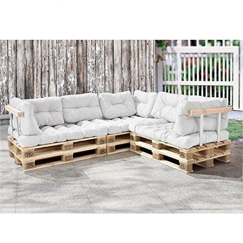 [en.casa] Palettenkissen - 11-teilig - Sitzpolster + Rückenkissen [weiß] Paletten-Sofa In/Outdoor - 3