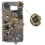 Spritech? 3D spooff negro metálico con brillo brillante con diseño brillanntes y flores samfme Exploradora funda, Style-1, Samsung Galaxy S6