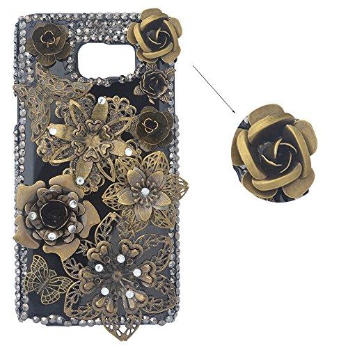 Preisvergleich Produktbild spritech (TM) 3D Handgefertigt Metallic Schwarz Back Case Schmetterling mit glänzend Sparkle Strass und Blumen Hard Caver Fall, Style-1, Samsung Galaxy Note 5