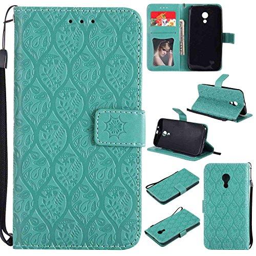 pinlu® PU Leder Tasche Handyhülle Für Motorola Moto G 2 Generation Smartphone Wallet Hülle Mit Standfunktion und Kartenfach Design Rattan Blume Prägung Mint Grün
