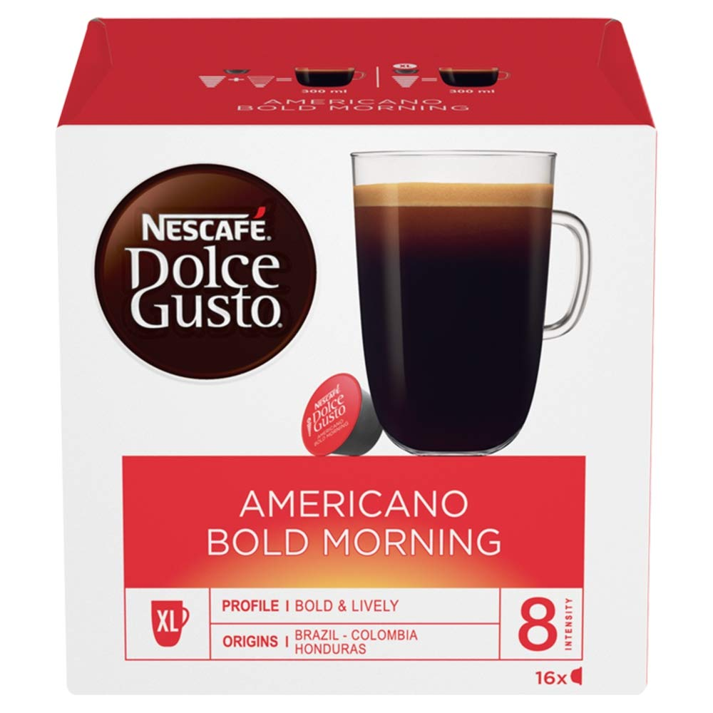 Nescafé Dolce Gusto Americano coffee pods and capsules (a cereal, chocolate notes, fruit notes coffee with aromas of dried fruit and chocolate, fresh fruit and petals, nutty)