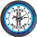 Mustang blau neon Uhr 240V 3-polig UK-Stecker