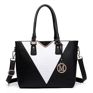Miss Lulu Leather Look V Shape Multicolour Tote Handbag (Black ...