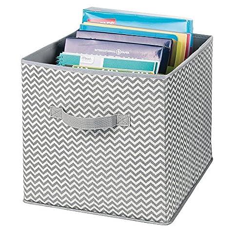 mDesign boîte de rangement avec poignées pour le bureau, atelier, etc. – panier de rangement pour ranger fichiers, papier d'imprimante – lot de 2 – bac de rangement de mDesign – couleur : gris/crème