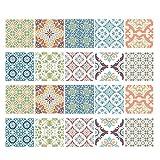 Homyl 20 Unidades Mosaico Azulejos Murales Pegatina de Cocina Baño a Prueba de Agua - # 3 15x15cm