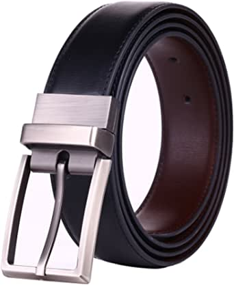 Beltox Fine Men's Dress Belt Leather Reversible 3.4CM Wide Rotated Buckle Gift Box