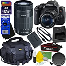 Canon EOS Rebel T6i Digital SLR Camera With EF-S 18-55 Is STM & EF-S 55-250mm Is STM Telephoto Zoom Lenses (International Version) + 32GB Accessory Kit W/HeroFiber Ultra Gentle Cleaning Cloth