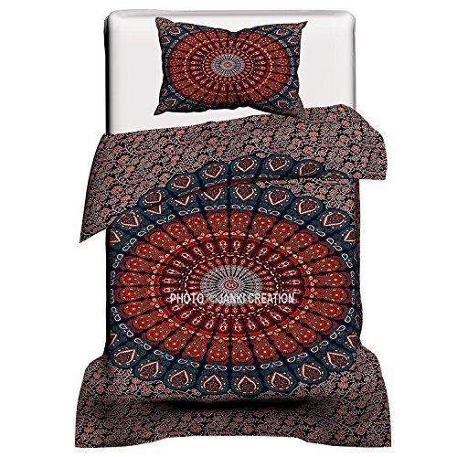 Pfau Mandala indischen Doona Bettbezug, Twin Größe mit One Kissenbezug Hippie Boho Bohemian Indian Art Room...