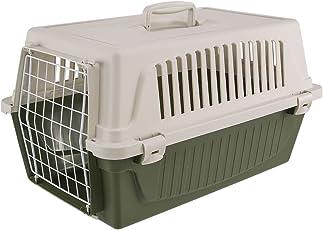 Ferplast Transportbox Atlas 20 für Hunde und Katzen bis zu 8 kg – Stabile Tragebox in Grün mit Weiß - inkl. ergonomischem Griff – Maße: 58 x 37 x 32 cm