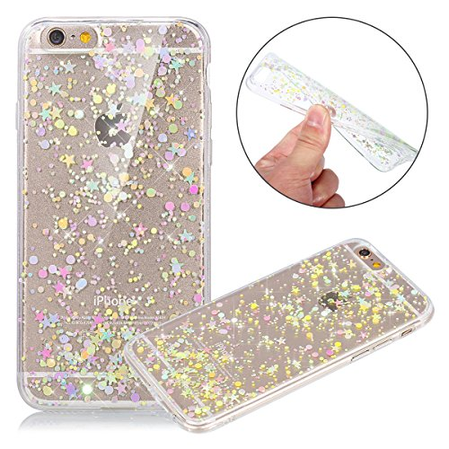 Custodia iPhone 6, Cover iPhone 6S Nero, Brillantini Cover Custodia in Silicone per iPhone 6 / 6S Apple, Surakey Belle Elegante Custodia con Glitter Sottile e Morbida TPU Gomma Case Colorate Bling Ste Stella Colore Clear