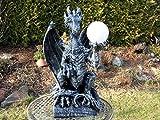 Arbrikadrex 50 cm Drachen Gothic Mystik Garten Deko Fantasy Skulptur DRACHENLAMPE Figur Tier