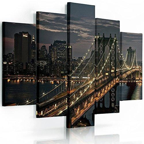 Feeby frames, quadro multipannello di 5 pannelli, quadro su tela, stampa artistica, canvas tipo a, 100x150 cm, new york, manhattan, panorama, ponte di brooklyn, marrone, arancione