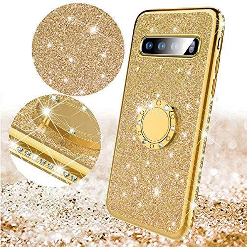 Surakey kompatibel mit Samsung Galaxy S10 Plus Hülle Tasche mit 360 Grad Ring Ständer Glänzend Bling Glitzer Diamant Handyhülle Transparent TPU Silikon Hülle Schutzhülle für Galaxy S10 Plus,Gold - Gold Schutzhülle