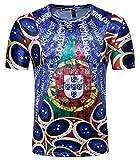Whatlees Herren Slim Fit FIFA Fussball WM 2018 3D Druck T-Shirt Portugal - Ba0043-11 - L