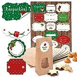Set: 25 kleine braune Blockbodenbeutel mit Fenster und Pergamineinlage (7 x 4 x 20,5 cm) + 34 (2B) rot weiß grüne Weihnachts-Etiketten Geschenkaufkleber (4 - 6,5 cm) als give-aways zum Befüllen