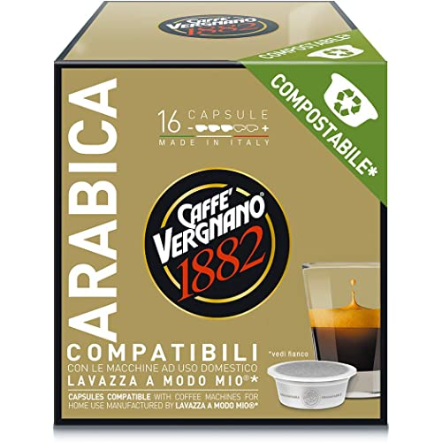 Caffè Vergnano 1882 7095 Capsule Caffè Compatibili Lavazza a Modo Mio Compostabili, Arabica, 128 Unità - 1 Kg