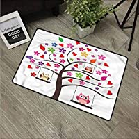 NineHuiTechnology Heavy Duty Doormats, Waterproof, Easy Clean, Low-Profile Mats for Entry, Garage, Patio, High Traffic Areas, Owls, Spotted Striped Patchwork Art