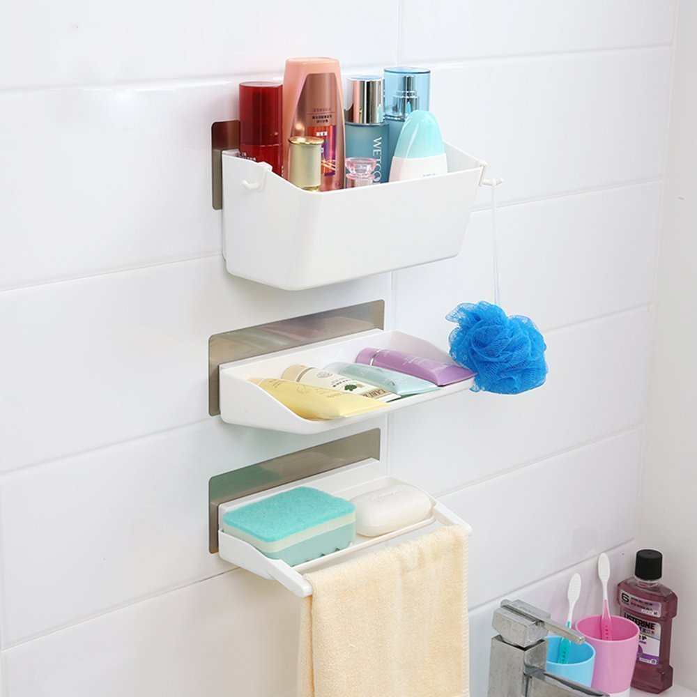 Details about White Bathroom Wall Shelves Shower Caddy Organiser 3p Set Kitchen No Drill Racks