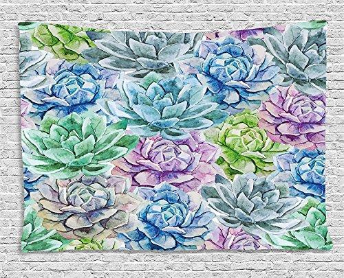 ajnxcid Sukkulente Wandteppich, Blumen in Aquarell Malerei Colorful Spring Blossoms Garten-Thema zum Aufhängen, für Schlafzimmer Wohnzimmer Wohnheim, 60W x 40L Zoll, multicolor 80