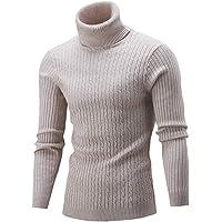 GUOCU Uomo Autunno Inverno Manica Lunga Collo Alto Maglione Tinta Unita Slim Fit Classico Casuale Maglia Pullover Tops