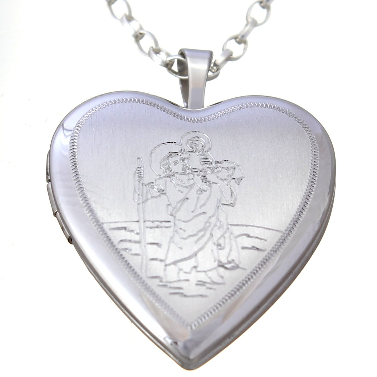 Sterling Silver St Christopher Heart Locket with 18″ Chain & Jewellery Gift Box