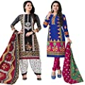 Hrinkar Black And Blue Cotton Prints With Solid Contrasts Salwar Suit Dupatta Or Churidar Suit For Women Latest Design And Style ( Material Unstitched ) Combo Pack Of 2 Dress - HKRCMB2925