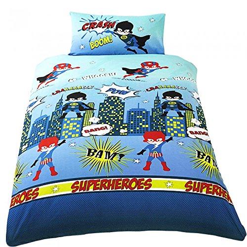 Superheroes - Juego de fundas nórdico/edredón cama individual para niños. (Cama de 90/Multicolor)
