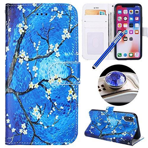 Etsue Case Cover for iPhone X,Copertura in Pelle/Leather Cover caso,Hand Embossed Varnish Leather Case,[Chiusura magnetica][assorbimento dello shock][anti-graffio],flip cover case for iPhone X-Campanu Pittura di fiori blu