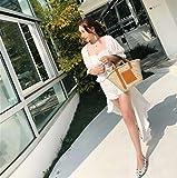 DDHZTA Populäre Größe des Superfeuers Populäre Weiche Korb-Damehandtasche der Weichen Gesponnenen Ovalen Strohtasche,M