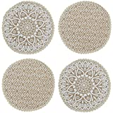 Saral Home White Jute & Cotton Printed Table Mat - Pack of 4 pc, 38x38 Cms