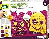 Lena 42523 - Häkelset Crazy Monsters, Komplettset zum Häkeln von 2 Glücksbringern mit Häkelnadel, Nähnadel, Wolle, Garne, Filzmaterial, Knöpfe und Watte zum Füllen, Bastelset für Kinder ab 8 Jahre