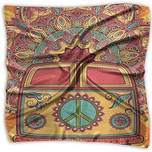 Uridy Pequeñas bufandas de seda para mujeres Ligero Satén Cuadrado/Pañuelo en la cabeza/Hairwrap/Neckscarf Hippie Vintage Mini Van Peace