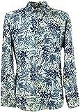 Guru-Shop Goa Hippie Hemd, Herrenhemd, Blau, Baumwolle, Size:L, Männerhemden Alternative Bekleidung