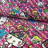 Hello Kitty Stoff–Hello Kitty Headspace Pink–kok12–von 0,5m–100% Baumwolle
