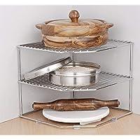 Callas Stainless Steel Multipurpose Kitchen Corner Shelf Rack Stand/Chakla Belan Storage (25.5 * 25.5 * 22 cm) (Set of 1…