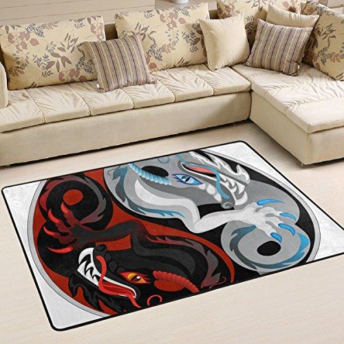 Woor Super komfortabel rutschfeste Yin Yang schwarz und weiß Dragon Bereich Teppiche/Boden Matte/Bezug Teppiche mit kleine Menge Speicher Schaumstoff für Wohnzimmer/Schlafzimmer/Esszimmer/Kinder/Home Dekorieren 3x 2Füße, multi, 6 x 4 Feet (Distressed Dragon)