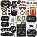 50th Birthday Photo Booth Props with Strike a Pose Sign - 31 Printed Pieces with Wooden Sticks