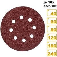 PRETEX 60 Klett-Schleifscheiben für Exzenter-Schleifer 8 Loch, Ø 125 mm (je 10 Stück mit den Körnungen 40/60 / 80/120 / 180/240)   Schleifpapier, Schleifblätter