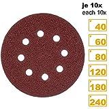 PRETEX 60 Klett-Schleifscheiben für Exzenter-Schleifer 8 Loch, Ø 125 mm (je 10 Stück mit den Körnungen 40/60 / 80/120 / 180/240) | Schleifpapier, Schleifblätter