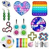 Qisen Fidget Toy Set, Sensory Toy, 26 stuks Fidget Pack, Fidget Set met Simple Dimple Fidget Toy Marble Mesh Push Pop Bubble