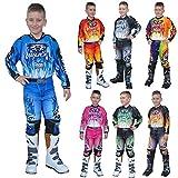 Wulfsport FIRESTORM Kinder Hosen Kinder Jersey / Hemd MX ATV / Quad-Motocross-Rennkleidung Alle Farben - Blau - 8-10 Jahre