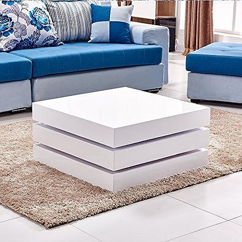 Willstone 360° Rotated High Gloss Coffee Table, Modern Design White