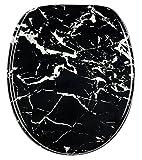 WC Sitz Marmor Schwarz, hochwertige Oberfläche, einfache Montage, stabile Scharniere