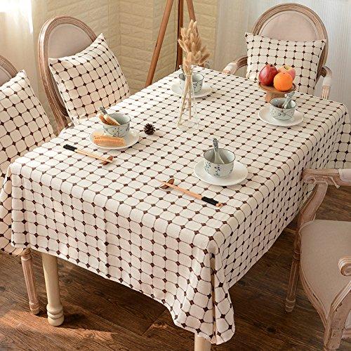 Preisvergleich Produktbild Tabgw Rechteckige Tischdecke Esszimmer Garten Hotel Cafe Restaurant Tisch decken Stoff Baumwolle und Leinen Farbe beige 130cmx220cm Heimzubehör