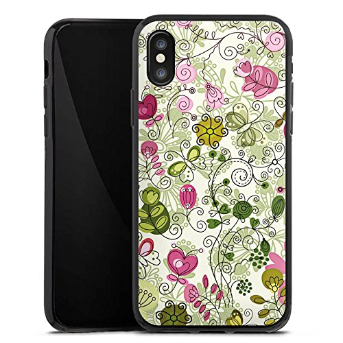 Apple iPhone X Silikon Hülle Case Schutzhülle Schmetterlinge Blumen Ranken Silikon Case schwarz