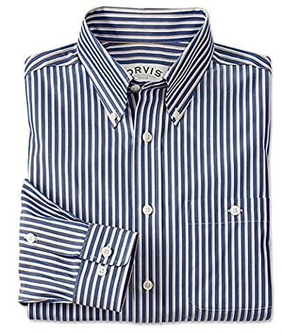 Orvis Pure Cotton Wrinkle-free Pinpoint Oxford Shirt, Blue Stripe,