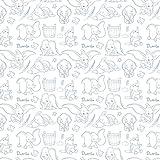 0,5 Meter langer Stoff mit Dumbo-Motiv von Camelot aus 100 % Baumwolle weiß