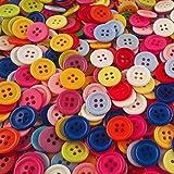 400 größere, bunt gemischte Zwei- oder Vierloch Kunststoffknöpfe - Größe: 15 mm rund - Farblich gemischte Vorteilspackung zum Nähen, Basteln und Dekorieren (Farbmischung 1 (Vierloch))