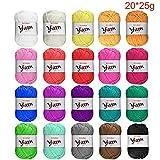 Pelote de laine 100% acrylique de 25g BCMRUN - Lot de 20 - Assortiment de couleurs - Pour crochet et tricot
