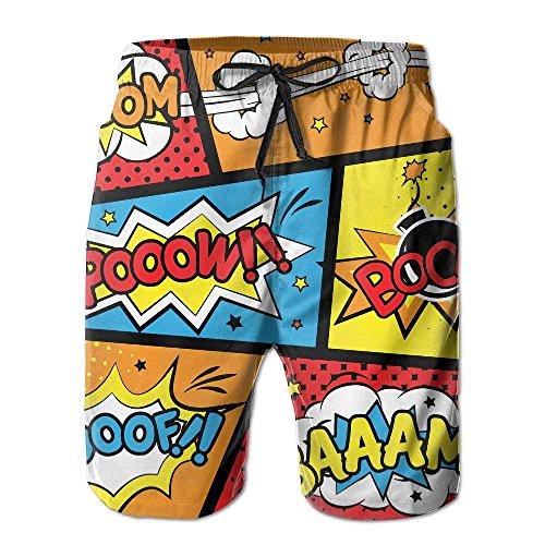 Nicegift Comic Graffiti Boom Pattern Men's/Boys Casual Swim Trunks Short Elastic Waist Beach Pants with Pockets Small Izod-denim